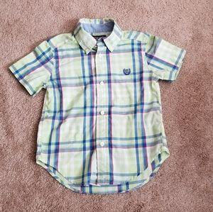 Plaid Short-sleeve Collared Shirt (3T)